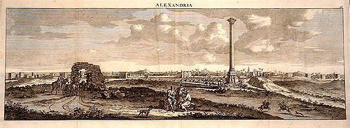 500px Cornelius de Bruyn view of Pompeys Pillar with Alexandria