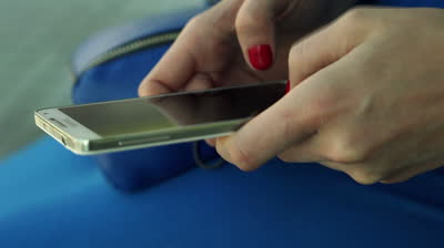 stock footage close up of woman hands texting sending sms o